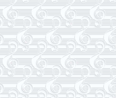 quilled shapes: Quilling paper G clef and lines.White geometric background. Seamless pattern. 3d cut out of paper effect with realistic shadow.