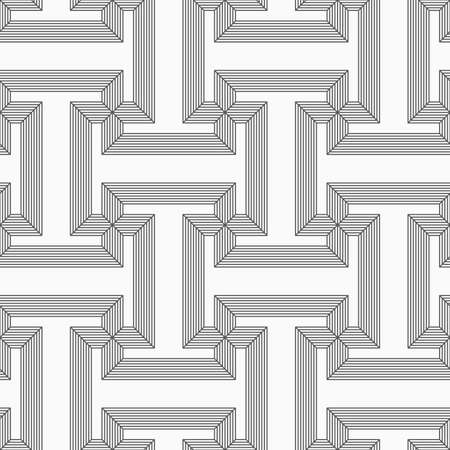 tillable: Shades of gray striped T shapes.Seamless stylish geometric background. Modern abstract pattern. Flat monochrome design. Illustration
