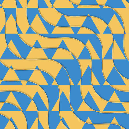 thee: Retro 3D yellow and blue waves with cut out triangles.Abstract layered pattern. Bright colored background with realistic shadow and thee dimentional effect.