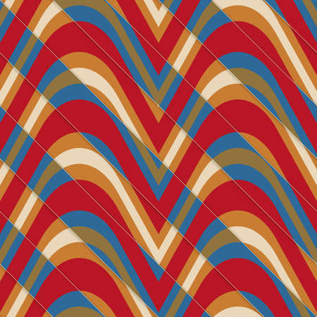 diagonally: Retro 3D bulging red and blue waves diagonally cut.Abstract layered pattern. Bright colored background with realistic shadow and thee dimentional effect. Vectores