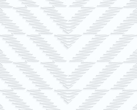 Quilling paper scribbled chevron.White geometric background. Seamless pattern. 3d cut out of paper effect with realistic shadow.