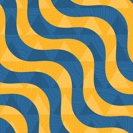 Retro 3D blue and yellow waves with overplayed triangles .Abstract layered pattern. Bright colored background with realistic shadow and thee dimentional effect. Ilustrace