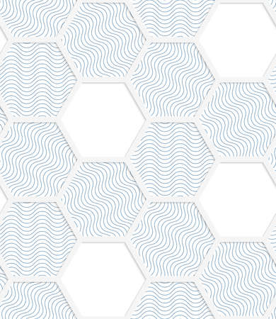 cut out paper: White 3D with colors hexagonal grid with blue.Abstract geometrical background. Pattern with cut out paper effect and realistic shadows.