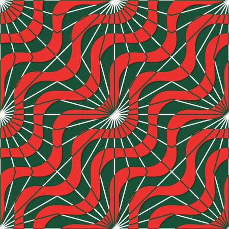 dimentional: Retro 3D red green waves and rays.Abstract layered pattern. Bright colored background with realistic shadow and thee dimentional effect.