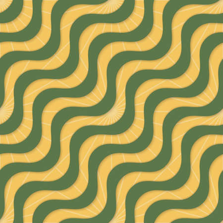 yellowish: Retro 3D yellow green waves and rays.Abstract layered pattern. Bright colored background with realistic shadow and thee dimentional effect.