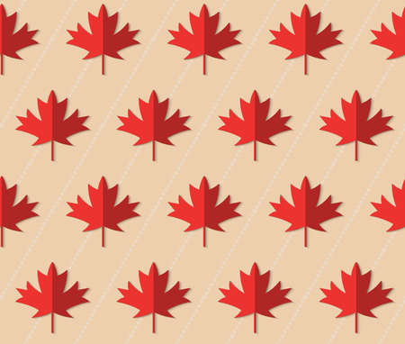 Retro fold red maple leaves on diagonal dots.Abstract geometrical ornament. Pattern with effect of folded paper with realistic shadow. Vintage colored simple shapes on textured background.
