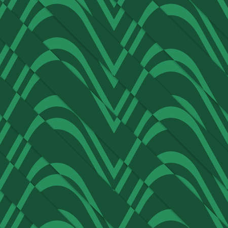 thee: Retro 3D bulging green waves diagonally cut.Abstract layered pattern. Bright colored background with realistic shadow and thee dimentional effect.