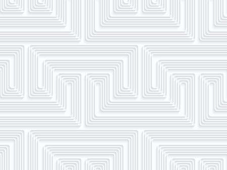 quilling: Quilling paper fastened arcs with offset.White geometric background. Seamless pattern. 3d cut out of paper effect with realistic shadow. Illustration