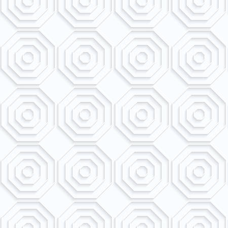 Quilling paper octagons with offset in row.White geometric background. Seamless pattern. 3d cut out of paper effect with realistic shadow. Illustration