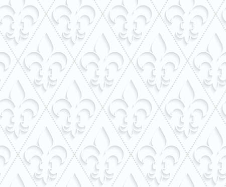 quilled shapes: Quilling paper Fleur-de-lis with dots.White geometric background. Seamless pattern. 3d cut out of paper effect with realistic shadow.