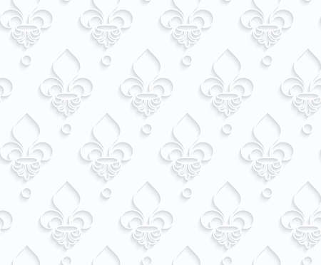 Quilling paper Fleur-de-lis.White geometric background. Seamless pattern. 3d cut out of paper effect with realistic shadow.