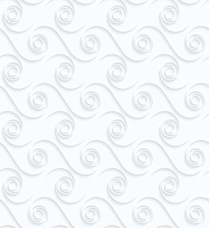 Quilling paper winging spirals in row.White geometric background. Seamless pattern. 3d cut out of paper effect with realistic shadow.