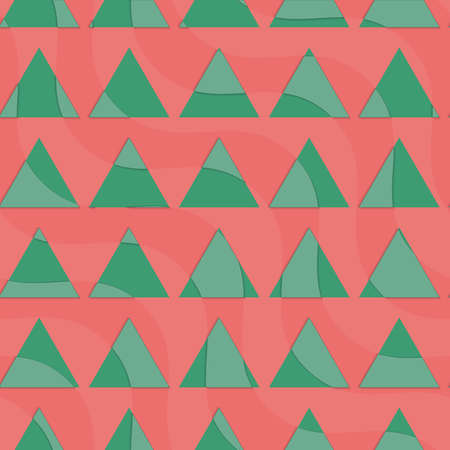 dimentional: Retro 3D green triangles on red.Abstract layered pattern. Bright colored background with realistic shadow and thee dimentional effect.