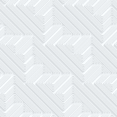 Quilling paper diagonal fastened arcs with offset.White geometric background. Seamless pattern. 3d cut out of paper effect with realistic shadow.