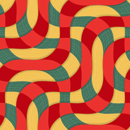 thee: Retro 3D yellow red overlapping waves with texture.Abstract layered pattern. Bright colored background with realistic shadow and thee dimentional effect.