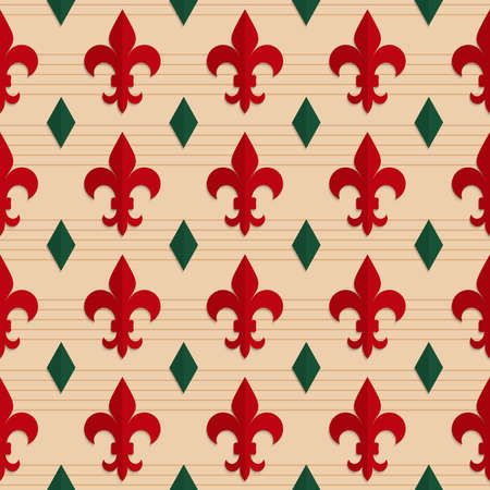 fleurdelis: Retro fold red Fleur-de-lis and green diamonds.Abstract geometrical ornament. Pattern with effect of folded paper with realistic shadow. Vintage colored simple shapes on textured background.