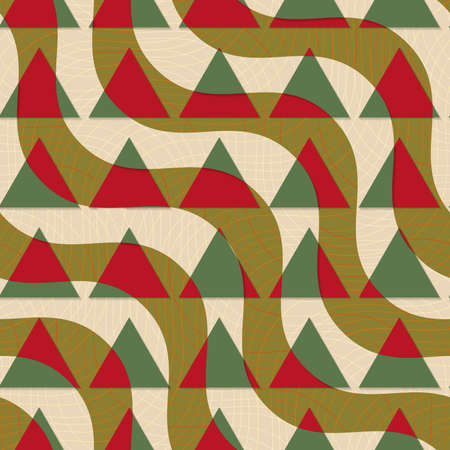 thee: Retro 3D green and brown diagonal waves with triangles.Abstract layered pattern. Bright colored background with realistic shadow and thee dimentional effect. Illustration
