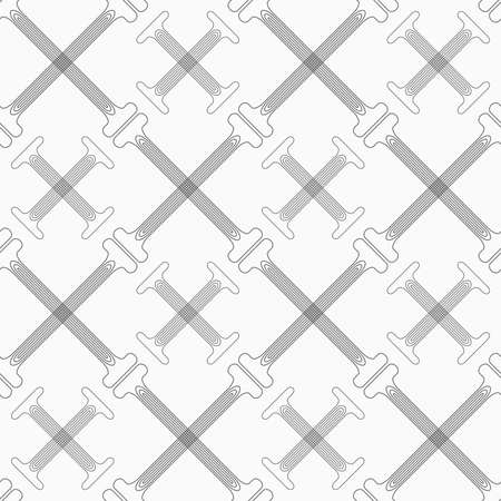 t background: Shades of gray crossing double T shapes with offset.Seamless stylish geometric background. Modern abstract pattern. Flat monochrome design.