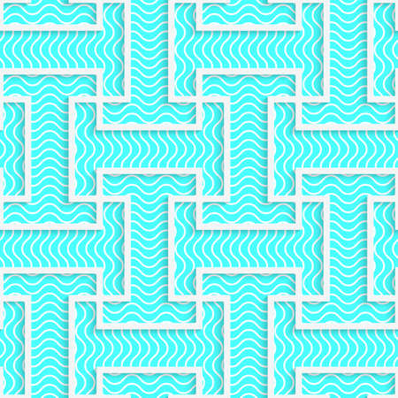 blue stripe: White 3D with colors blue striped T shapes.Abstract geometrical background. Pattern with cut out paper effect and realistic shadows.