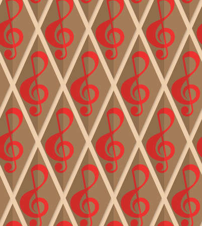 yellowish: Retro fold red G clef.Abstract geometrical ornament. Pattern with effect of folded paper with realistic shadow. Vintage colored simple shapes on textured background. Illustration