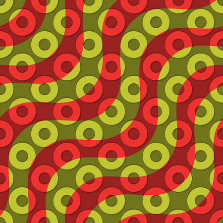 thee: Retro 3D red green waves and donates.Abstract layered pattern. Bright colored background with realistic shadow and thee dimentional effect.