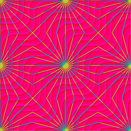 dimentional: Retro 3D magenta waves and yellow rays.Abstract layered pattern. Bright colored background with realistic shadow and thee dimentional effect. Illustration