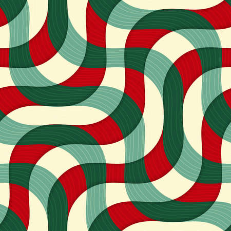 thee: Retro 3D green red yellow overlapping waves with texture.Abstract layered pattern. Bright colored background with realistic shadow and thee dimentional effect. Illustration