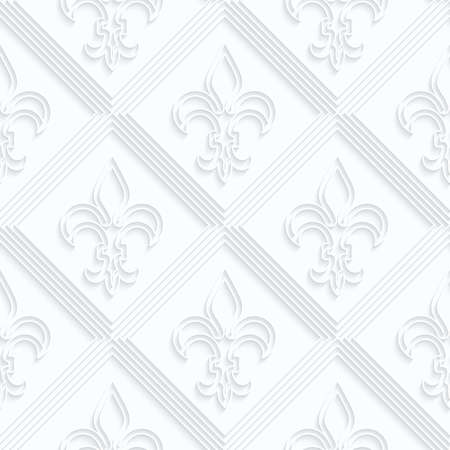 quilled shapes: Quilling paper Fleur-de-lis with double grid.White geometric background. Seamless pattern. 3d cut out of paper effect with realistic shadow.