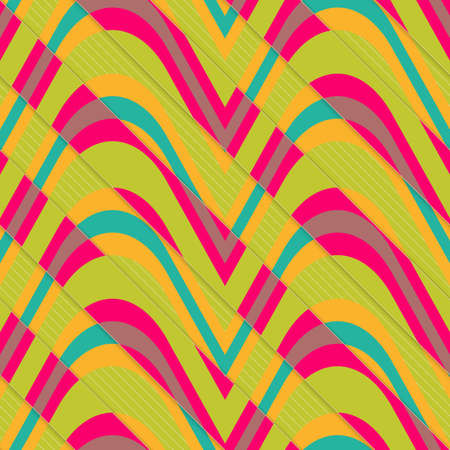 Retro 3D bulging waves diagonally cut.Abstract layered pattern. Bright colored background with realistic shadow and thee dimentional effect. Illustration