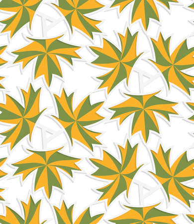 cut out paper: White 3D with colors green and yellow maple leaves.Abstract geometrical background. Pattern with cut out paper effect and realistic shadows.