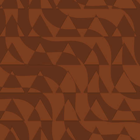 dimentional: Retro 3D brown waves with cut out triangles.Abstract layered pattern. Bright colored background with realistic shadow and thee dimentional effect. Illustration