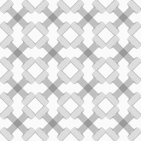 Shades of gray striped crossing double T shapes.Seamless stylish geometric background. Modern abstract pattern. Flat monochrome design.