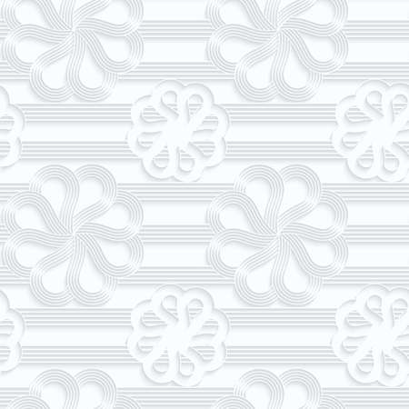 Quilling paper lines and flowers with rim.White geometric background. Seamless pattern. 3d cut out of paper effect with realistic shadow.