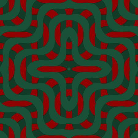 thee: Retro 3D green and red overlapping waves.Abstract layered pattern. Bright colored background with realistic shadow and thee dimentional effect.