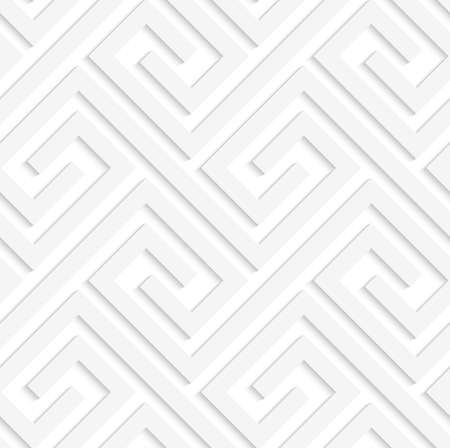 interlock: White 3D fastened spirals.Seamless geometric background. Modern monochrome 3D texture. Pattern with realistic shadow and cut out of paper effect.