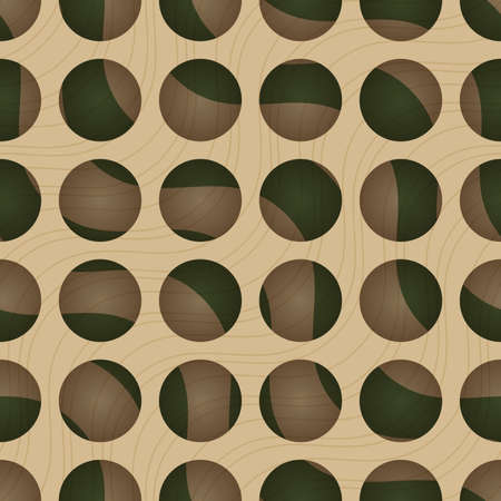 thee: Retro 3D circles and green waves under.Abstract layered pattern. Bright colored background with realistic shadow and thee dimentional effect. Illustration