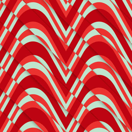 thee: Retro 3D red green diagonal cut waves.Abstract layered pattern. Bright colored background with realistic shadow and thee dimentional effect.