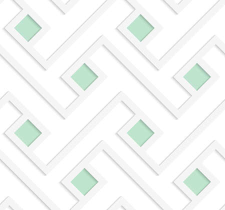 cut out paper: White 3D with colors green squares.Abstract geometrical background. Pattern with cut out paper effect and realistic shadows.