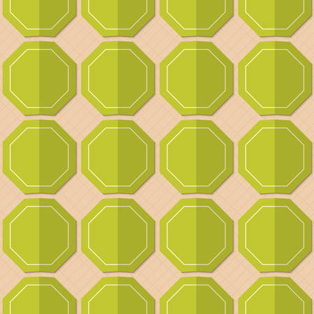 yellowish: Retro fold green octagons.Abstract geometrical ornament. Pattern with effect of folded paper with realistic shadow. Vintage colored simple shapes on textured background.