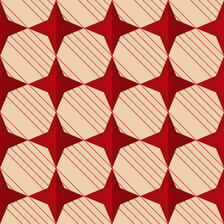 yellowish: Retro fold red stars.Abstract geometrical ornament. Pattern with effect of folded paper with realistic shadow. Vintage colored simple shapes on textured background. Illustration