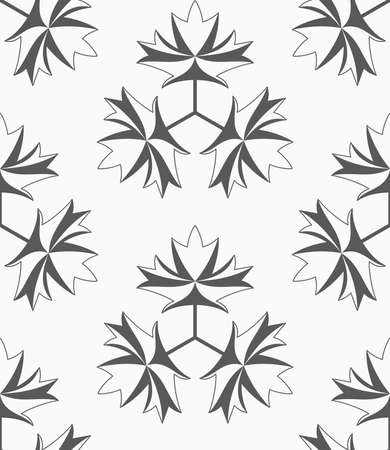 Shades of gray maple leaves with three turn.Seamless stylish geometric background. Modern abstract pattern. Flat monochrome design.