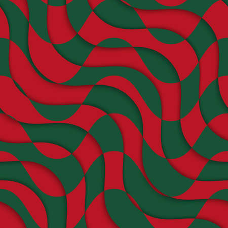 overlaying: Retro 3D red green overlaying waves.Abstract layered pattern. Bright colored background with realistic shadow and thee dimentional effect. Illustration
