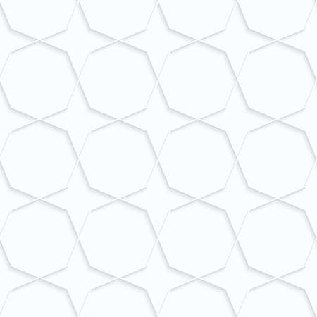 Quilling paper octagons with stars.White geometric background. Seamless pattern. 3d cut out of paper effect with realistic shadow.