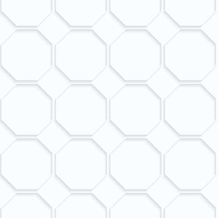 quilled shapes: Quilling paper octagons in row.White geometric background. Seamless pattern. 3d cut out of paper effect with realistic shadow.