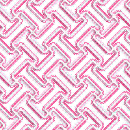 cut out paper: White 3D with colors diagonal T rounded shapes with pink.Abstract geometrical background. Pattern with cut out paper effect and realistic shadows. Illustration