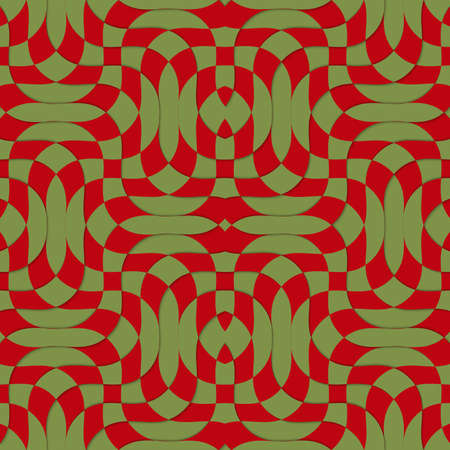 thee: Retro 3D green red overlapping texture.Abstract layered pattern. Bright colored background with realistic shadow and thee dimentional effect. Illustration