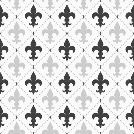 de: Shades of gray light and dark Fleur-de-lis.Seamless stylish geometric background. Modern abstract pattern. Flat monochrome design.