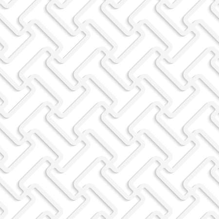 White 3D diagonal T shapes.Seamless geometric background. Modern monochrome 3D texture. Pattern with realistic shadow and cut out of paper effect.