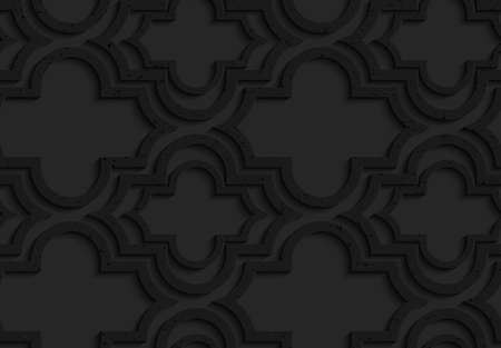 marrakech: Black textured plastic Marrakech with offset.Seamless abstract geometrical pattern with 3d effect. Background with realistic shadows and layering.