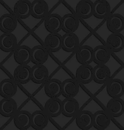 perforated: Black textured plastic swirls in square grid.Seamless abstract geometrical pattern with 3d effect. Background with realistic shadows and layering. Illustration